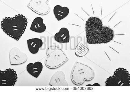 Romantic Relations. Valentines Holiday Celebration. Decoration Heart Background. Love Symbol Valenti