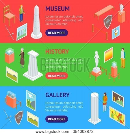 Museum Hall Interior Banner Horizontal Set Isometric View Include Of Column, Artifact, Picture, Visi