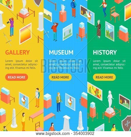 Museum Hall Interior Banner Vecrtical Set Isometric View Include Of Column, Artifact, Picture, Visit