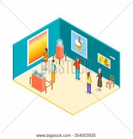 Museum Hall Interior Isometric View Include Of Caretaker, Visitor, Exposition And Excursion. Vector
