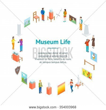 Museum Hall Interior Banner Card Circle Isometric View Include Of Column, Artifact, Picture, Visitor