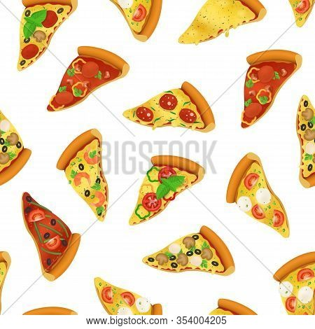 Realistic 3d Detailed Pizza Slices Seamless Pattern Background On A White Italian Fast Food With Tom
