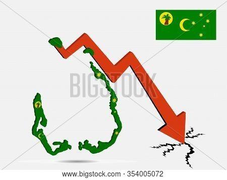 Cocos Islands Economic Crisis Vector Illustration Eps 10.