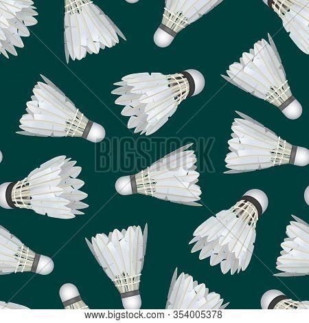 Realistic Detailed 3d White Shuttlecocks For Badminton Seamless Pattern Background Equipment For Spo
