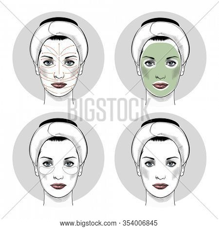 Beautiful woman portrait. Beauty Treatments. Cosmetology, beauty, health. Facial treatment. Spa facial Massage. Face Massage in beauty spa salon. Facial therapy.