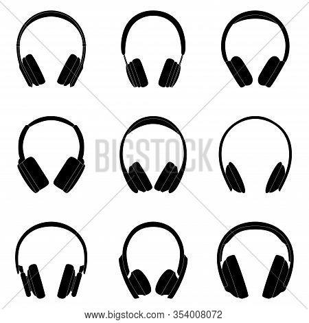Set Of Black Silhouttes Of Headphones, Vector Illustration