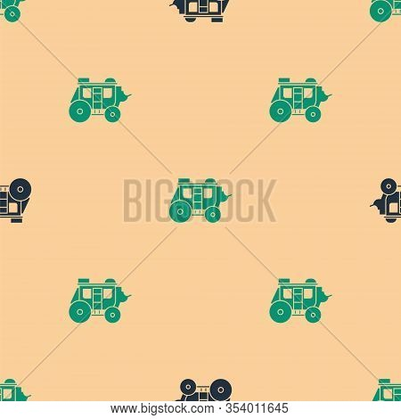 Green And Black Western Stagecoach Icon Isolated Seamless Pattern On Beige Background. Vector Illust