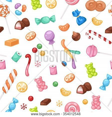 Candy Confectionery And Sweets Seamless Pattern, Lollipop, Caramel And Jelly Cartoon Vector Illustra