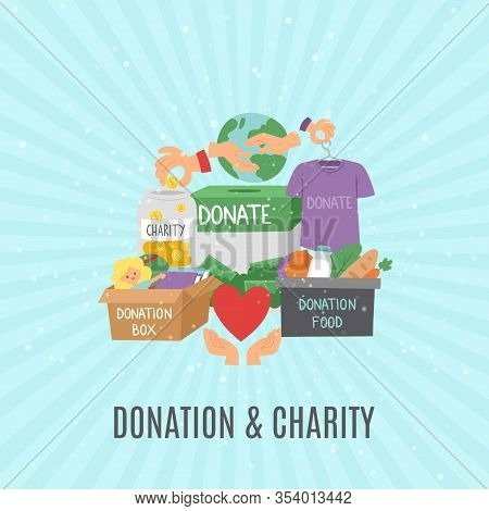 Donate And Help Symbols, Charity Organization, Heart Flat Icons Set Of Food And Clothes Donation Car