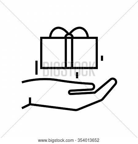 Wonder Gift Line Icon, Concept Sign, Outline Vector Illustration, Linear Symbol.