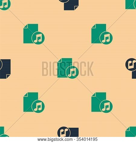 Green And Black Music Book With Note Icon Isolated Seamless Pattern On Beige Background. Music Sheet
