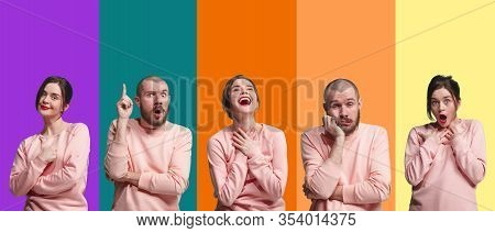 Portrait Of Group Of Emotional People On Multicolored Background. Flyer, Collage Made Of 2 Models. C