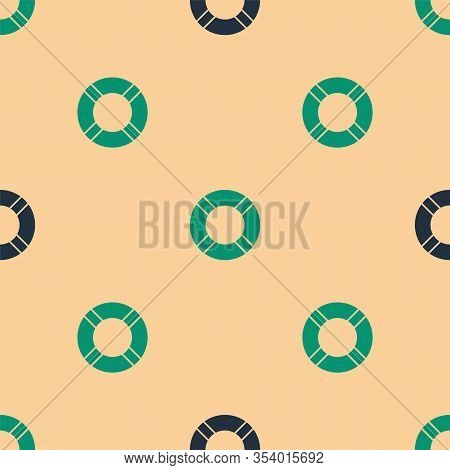 Green And Black Lifebuoy Icon Isolated Seamless Pattern On Beige Background. Life Saving Floating Li