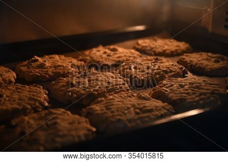 Baking Cookies In Bakery Oven With High Temperature