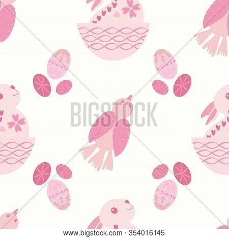 Cute Easter Bunny, Bird And Eggs Seamless Vector Pattern Background. Folk Art Scandinavian Style Bab