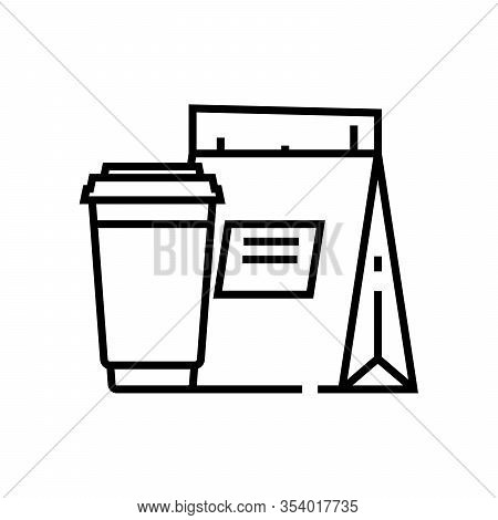 Takeout Food Line Icon, Concept Sign, Outline Vector Illustration, Linear Symbol.