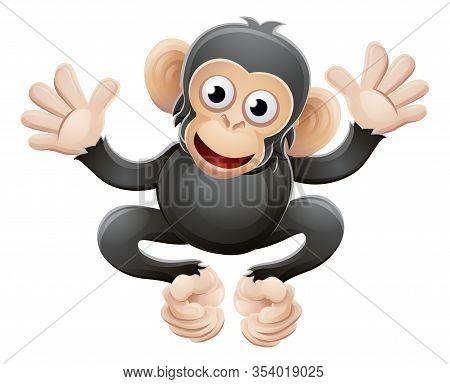A Cute Chimpanzee Chimp Or Monkey Animal Cartoon Character Mascot