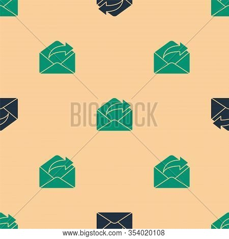 Green And Black Outgoing Mail Icon Isolated Seamless Pattern On Beige Background. Envelope Symbol. O