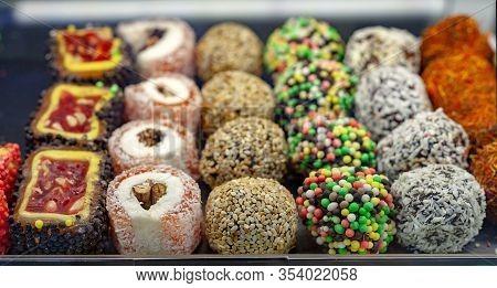 Oriental Sweets Lukum. Turkish Delight On Sale In Food Store.