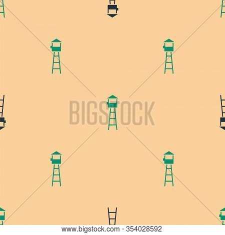 Green And Black Watch Tower Icon Isolated Seamless Pattern On Beige Background. Prison Tower, Checkp