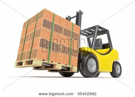 Forklift with hollow clay blocks
