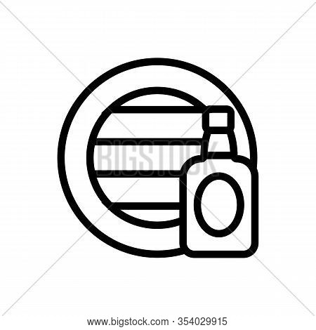 Whisky Barrel And Bottle Vector Icon. Thin Line Sign. Isolated Contour Symbol Illustration