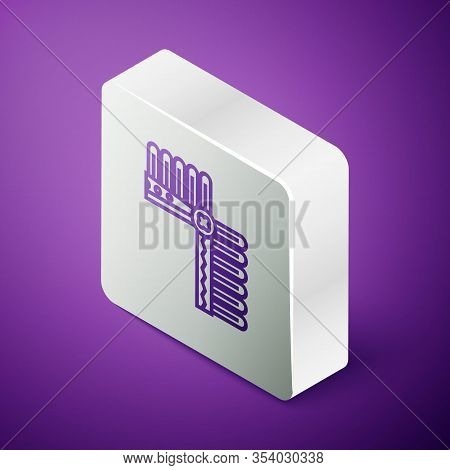 Isometric Line Indian Headdress With Feathers Icon Isolated On Purple Background. Native American Tr