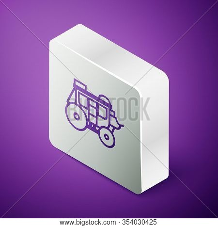 Isometric Line Western Stagecoach Icon Isolated On Purple Background. Silver Square Button. Vector I