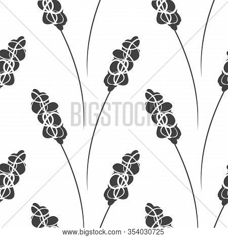 Modern Floral Stamen Seamless Pattern Background. Black And White Hand Drawn Abstract Flower Stem Na