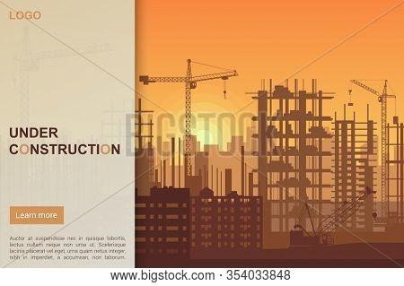 Building Under Construction Site Design, Building Construction Prosess Web Template Landing Page Vec