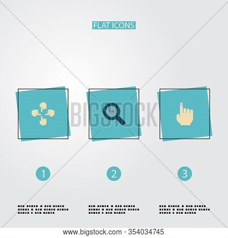 Set Of Gesticulation Icons Flat Style Symbols With Multitouch, Magnifier, Soft Touch And Other Icons