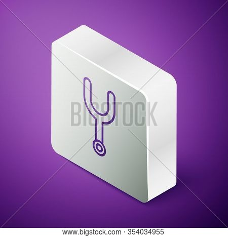 Isometric Line Musical Tuning Fork For Tuning Musical Instruments Icon Isolated On Purple Background
