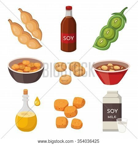Vector Soya Products And Foodstuff: Milk, Oil, Sauce, Meat, Tofu. Soy Green Pods And Beans. Legumes