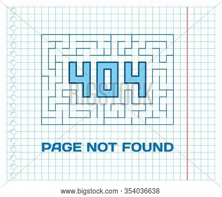 404 Page Not Found With Labyrinth On School Notebook Sheet. Concept Internet Webpage Vector Illustra