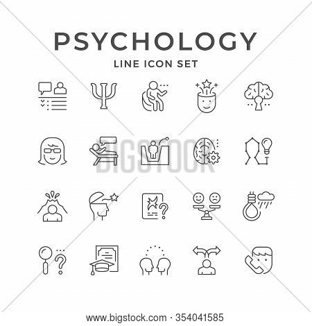 Set Line Icons Of Psychology Isolated On White. Psychotherapy, Mental Health, Suicide Concept, Psych