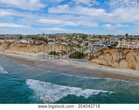 Aerial View Of Solana Beach And Cliff, California Coastal Beach With Blue Pacific Ocean. San Diego C