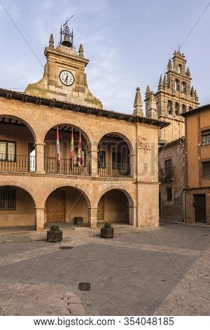 Main Square Of The Town Of Ayllon In The Province Of Segovia. Church Of Santa Maria And The Town Hal