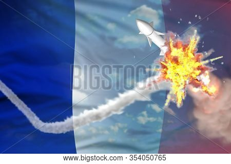 France Intercepted Supersonic Warhead, Modern Antirocket Destroys Enemy Missile Concept, Military In