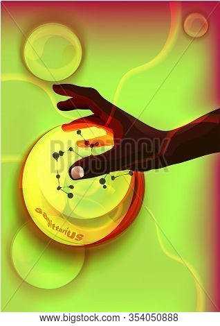 Magic Crystal Ball In Dark Skin Hand, Red Light, Electric Discharges And Lightning, Mystical Illustr