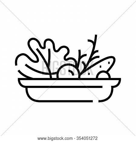 Vegetable Salad Line Icon, Concept Sign, Outline Vector Illustration, Linear Symbol.