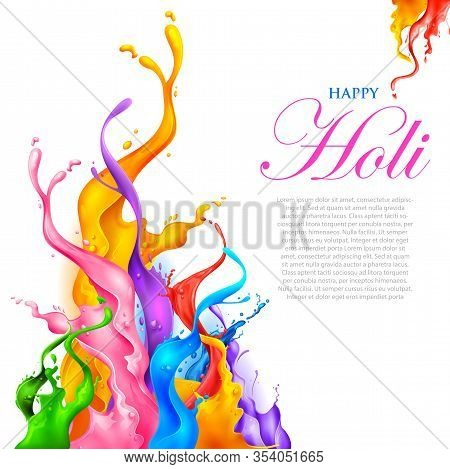 Illustration Of Abstract Colorful Happy Holi Background Card Design For Color Festival Of India Cele