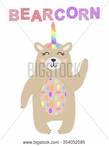 Magic Cute Unicorn Brown Bear With Flower Horn. Kawaii Teddy Bear T-shirt Print, Baby Shower Card, N