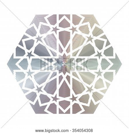 Arabesque Hologram Sticker. Vector Element For Product Quality Guarantee