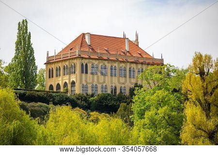 Prague, Czech Republic - 30.04.2019: Governors Summerhouse In Stromovka Park Or National Museum Libr