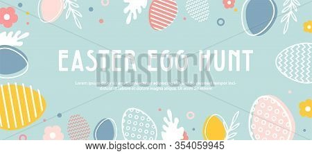 Abstract Banner Template For Easter Egg Hunt . Greeting Card, Poster Or Banner With Bunny, Flowers A