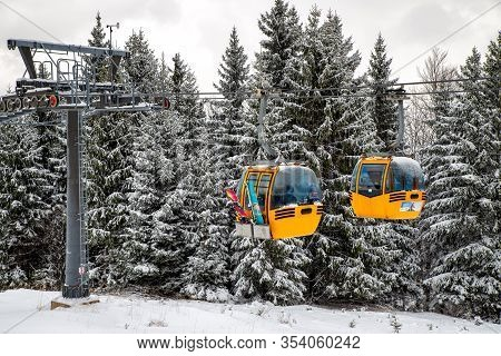 Ruzomberok, Slovakia - February 28: Cabins Of Cableway And At Resort Malino Brdo On February 28, 202