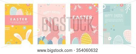 Happy Easter. Greeting Cards Or Posters With Bunny, Spring Flowers And Easter Egg. Egg Hunt Poster T