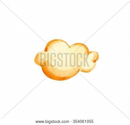 Cute Cartoon Watercolor Cloud. Watercolour Yellow Cloud Objects Isolated On White Background For You