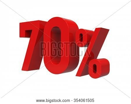 3d Render: ISOLATED Red 70% Percent Discount 3d Sign on Light Background, Special Offer 70% Discount Tag, Sale Up to 70 Percent Off, Seventy Percent Letters Sale Symbol, Special Offer Label