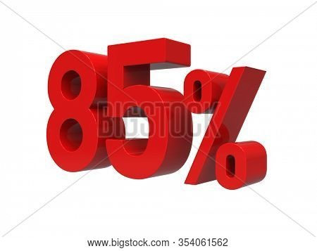 3d Render: ISOLATED Red 85% Percent Discount 3d Sign on Light Background, Special Offer 85% Discount Tag, Sale Up to 85 Percent Off, Eighty-five Percent Letters Sale Symbol, Special Offer Label